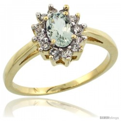 10k Yellow Gold Green Amethyst Diamond Halo Ring Oval Shape 1.2 Carat 6X4 mm, 1/2 in wide
