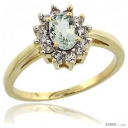 10k Yellow Gold Green Amethyst Diamond Halo Ring Oval Shape 1.2 Carat 6X4 mm, 1/2 in wide