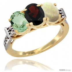 10K Yellow Gold Natural Green Amethyst, Garnet & Opal Ring 3-Stone Oval 7x5 mm Diamond Accent