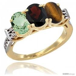10K Yellow Gold Natural Green Amethyst, Garnet & Tiger Eye Ring 3-Stone Oval 7x5 mm Diamond Accent