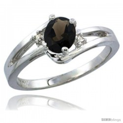 10K White Gold Natural Smoky Topaz Ring Oval 6x4 Stone Diamond Accent -Style Cw907165