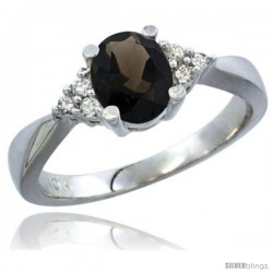 10K White Gold Natural Smoky Topaz Ring Oval 7x5 Stone Diamond Accent -Style Cw907168