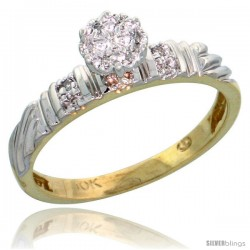 10k Yellow Gold Diamond Engagement Ring 0.06 cttw Brilliant Cut, 1/8in. 3.5mm wide -Style 10y017er