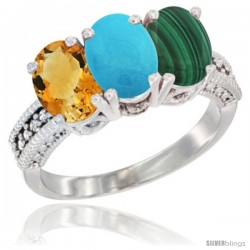 14K White Gold Natural Citrine, Turquoise & Malachite Ring 3-Stone 7x5 mm Oval Diamond Accent