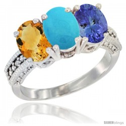 14K White Gold Natural Citrine, Turquoise & Tanzanite Ring 3-Stone 7x5 mm Oval Diamond Accent