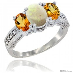 14k White Gold Ladies Oval Natural Opal 3-Stone Ring with Citrine Sides Diamond Accent
