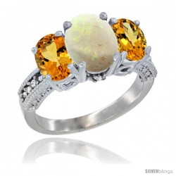 14K White Gold Ladies 3-Stone Oval Natural Opal Ring with Citrine Sides Diamond Accent