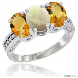 14K White Gold Natural Opal & Citrine Sides Ring 3-Stone 7x5 mm Oval Diamond Accent