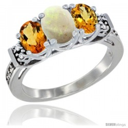 14K White Gold Natural Opal & Citrine Ring 3-Stone Oval with Diamond Accent