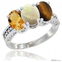 14K White Gold Natural Citrine, Opal & Tiger Eye Ring 3-Stone 7x5 mm Oval Diamond Accent