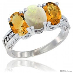 14K White Gold Natural Citrine, Opal & Whisky Quartz Ring 3-Stone 7x5 mm Oval Diamond Accent
