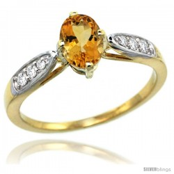 14k Gold Natural Citrine Ring 7x5 Oval Shape Diamond Accent, 5/16inch wide
