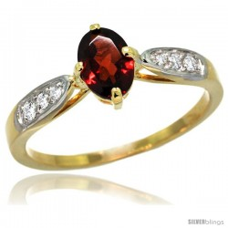 14k Gold Natural Garnet Ring 7x5 Oval Shape Diamond Accent, 5/16inch wide