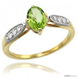 14k Gold Natural Peridot Ring 7x5 Oval Shape Diamond Accent, 5/16inch wide
