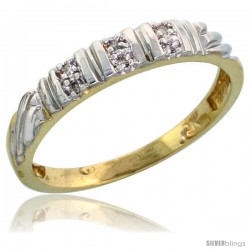 10k Yellow Gold Ladies Diamond Wedding Band Ring 0.03 cttw Brilliant Cut, 1/8 in wide -Style 10y017lb