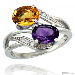14k White Gold ( 8x6 mm ) Double Stone Engagement Amethyst & Citrine Ring w/ 0.07 Carat Brilliant Cut Diamonds & 2.34 Carats