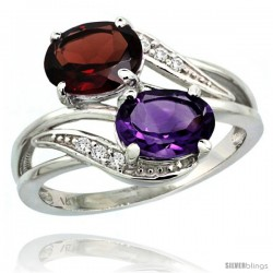 14k White Gold ( 8x6 mm ) Double Stone Engagement Amethyst & Garnet Ring w/ 0.07 Carat Brilliant Cut Diamonds & 2.34 Carats