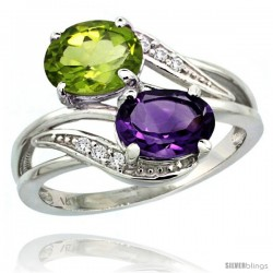 14k White Gold ( 8x6 mm ) Double Stone Engagement Amethyst & Peridot Ring w/ 0.07 Carat Brilliant Cut Diamonds & 2.34 Carats