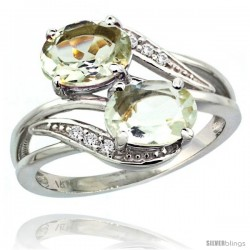 14k White Gold ( 8x6 mm ) Double Stone Engagement Green Amethyst Ring w/ 0.07 Carat Brilliant Cut Diamonds & 2.34 Carats Oval