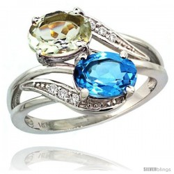 14k White Gold ( 8x6 mm ) Double Stone Engagement Green Amethyst & Swiss Blue Topaz Ring w/ 0.07 Carat Brilliant Cut Diamonds
