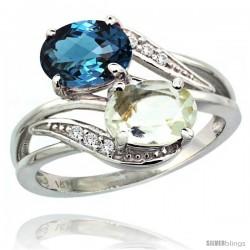 14k White Gold ( 8x6 mm ) Double Stone Engagement Green Amethyst & London Blue Topaz Ring w/ 0.07 Carat Brilliant Cut Diamonds