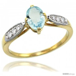 14k Gold Natural Aquamarine Ring 7x5 Oval Shape Diamond Accent, 5/16inch wide