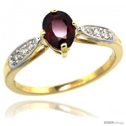 14k Gold Natural Ruby Ring 7x5 Oval Shape Diamond Accent, 5/16inch wide