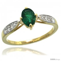 14k Gold Natural Emerald Ring 7x5 Oval Shape Diamond Accent, 5/16inch wide