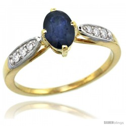 14k Gold Natural Blue Sapphire Ring 7x5 Oval Shape Diamond Accent, 5/16inch wide