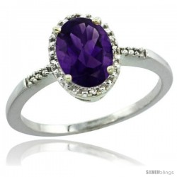 Sterling Silver Diamond Natural Amethyst Ring 1.17 ct Oval Stone 8x6 mm, 3/8 in wide