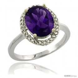Sterling Silver Diamond Natural Amethyst Ring 2.4 ct Oval Stone 10x8 mm, 1/2 in wide -Style Cwg01114