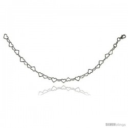 Sterling Silver Heart Link Chain Necklaces & Bracelets 6mm wide