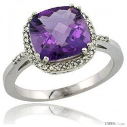 Sterling Silver Diamond Natural Amethyst Ring 3 ct Cushion Cut 9x9 mm, 1/2 in wide