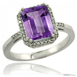 Sterling Silver Diamond Amethyst Ring 2.53 ct Emerald Shape 9x7 mm, 1/2 in wide