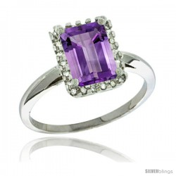 Sterling Silver Diamond Amethyst Ring 1.6 ct Emerald Shape 8x6 mm, 1/2 in wide