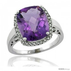 Sterling Silver Diamond Natural Amethyst Ring 5.17 ct Checkerboard Cut Cushion 12x10 mm, 1/2 in wide