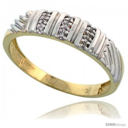 10k Yellow Gold Mens Diamond Wedding Band Ring 0.05 cttw Brilliant Cut, 3/16 in wide