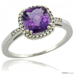 Sterling Silver Diamond Natural Amethyst Ring 1.5 ct Checkerboard Cut Cushion Shape 7 mm, 3/8 in wide
