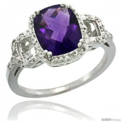 Sterling Silver Diamond Natural Amethyst Ring 2 ct Checkerboard Cut Cushion Shape 9x7 mm, 1/2 in wide