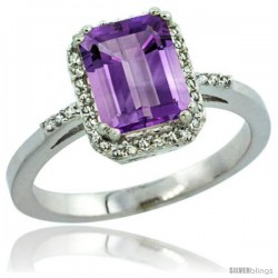 Sterling Silver Diamond Amethyst Ring 1.6 ct Emerald Shape 8x6 mm, 1/2 in wide -Style Cwg01129