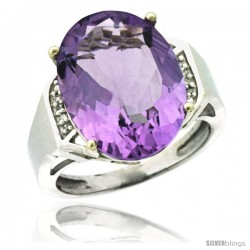 Sterling Silver Diamond Natural Amethyst Ring 9.7 ct Large Oval Stone 16x12 mm, 5/8 in wide