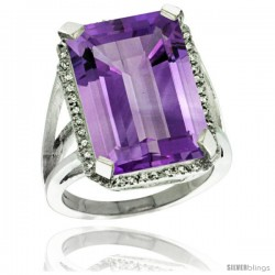 Sterling Silver Diamond Amethyst Ring 14.96 ct Emerald Shape 18x13 mm Stone, 13/16 in wide