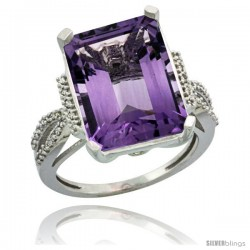 Sterling Silver Diamond Amethyst Ring 12 ct Emerald Shape 16x12 Stone 3/4 in wide