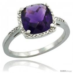 Sterling Silver Diamond Natural Amethyst Ring 2.08 ct Cushion cut 8 mm Stone 1/2 in wide