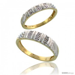10k Yellow Gold Diamond Wedding Rings 2-Piece set for him 5 mm & Her 3.5 mm 0.08 cttw Brilliant Cut