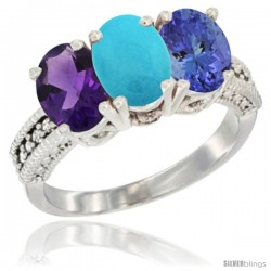 14K White Gold Natural Amethyst, Turquoise & Tanzanite Ring 3-Stone 7x5 mm Oval Diamond Accent