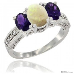 14k White Gold Ladies Oval Natural Opal 3-Stone Ring with Amethyst Sides Diamond Accent
