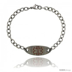 Surgical Steel Medical Alert Bracelet for Type 1 Diabetic 9/16 in wide, 8 1/2 in long