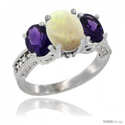 14K White Gold Ladies 3-Stone Oval Natural Opal Ring with Amethyst Sides Diamond Accent