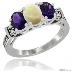14K White Gold Natural Opal & Amethyst Ring 3-Stone Oval with Diamond Accent